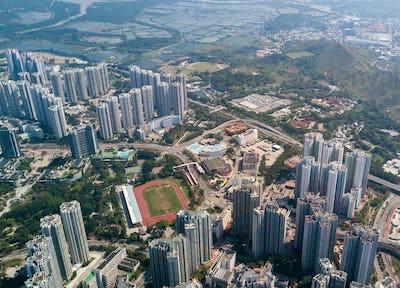Top view of hong kong skyline