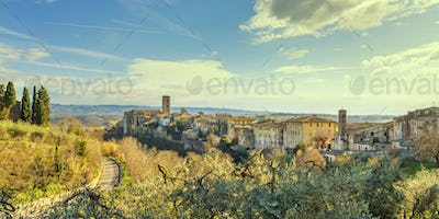 Colle Val d'Elsa town skyline, panoramic view. Siena, Tuscany, Italy