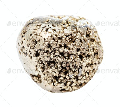 rolled Pyrite (fool's gold) stone isolated