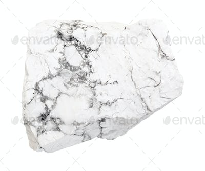 raw Howlite rock isolated on white
