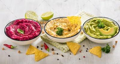 Various Colorful Hummus Dips