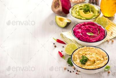 Colorful Hummus Dips