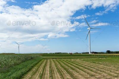 Wind turbine and farm with blue sky