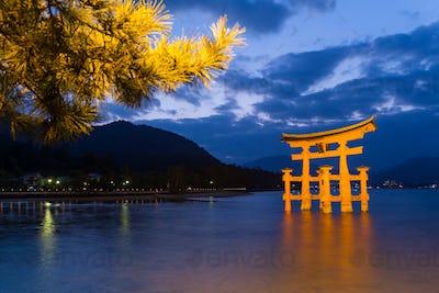 Itsukushima Shrine at sunset