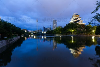 Japanese Castle in Hiroshima at night