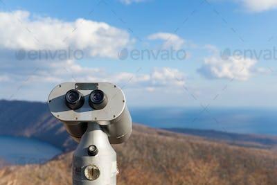 Tourist Binocular in Lake kuttara in Shiraoi