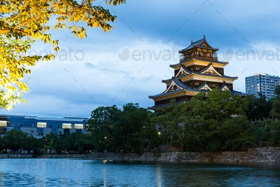 Hiroshima Castle in japan at night