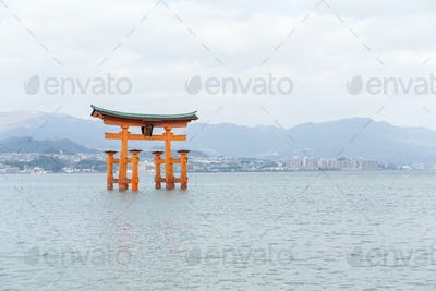Giant floating Shinto torii gate of the Itsukushima Shrine