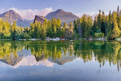 Lake Strbske pleso in High Tatras mountain, Slovakia Europe