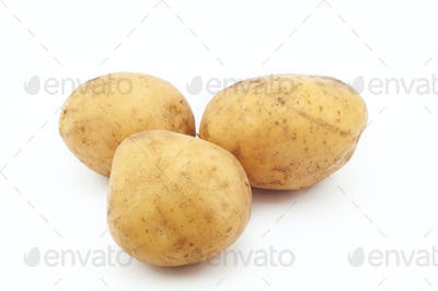 Quality Potato space. Potatoes isolated on white background