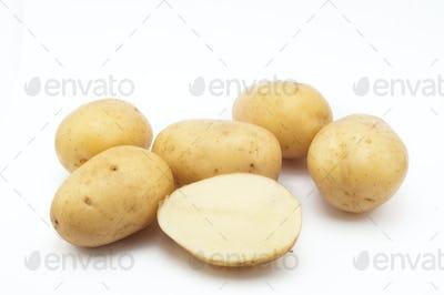 Quality of potatoes erou.  isolated on white background