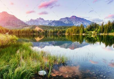 Lake Strbske pleso in High Tatras mountain, Slovakia Europe