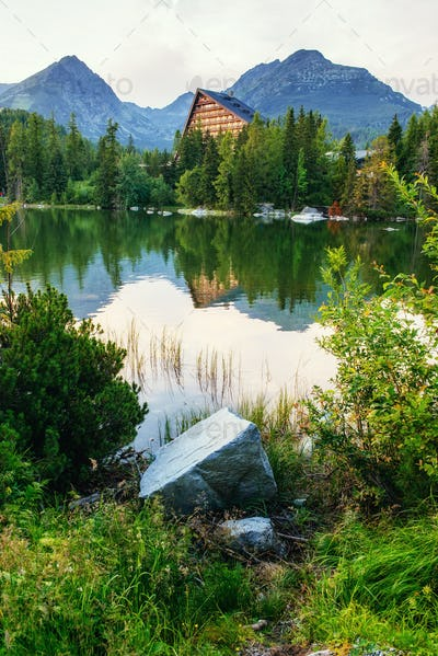 Majestic mountain lake in National Park High Tatra