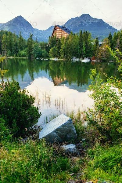 Majestic mountain lake in National Park High Tatra