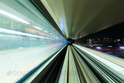 Blurred speed motion in urban highway road tunnel