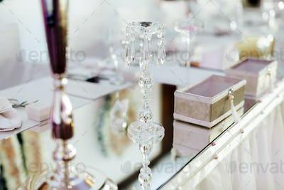 Wedding crystals on table