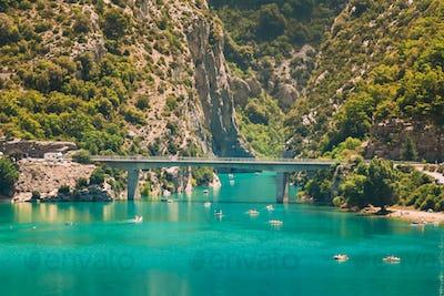 Verdon Gorge, Lake of Sainte-Croix, France. Bridge over the Lake of Sainte-Croix in south-eastern