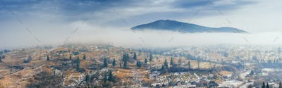 mountain village in the valley. Carpathians. Ukraine. Europe