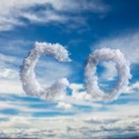 Cloud CO2 symbol on blue sky background. Planet pollution, smog concept. 3d illustration