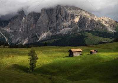 Cottages at Seiser Alm in the Dolomites mountains