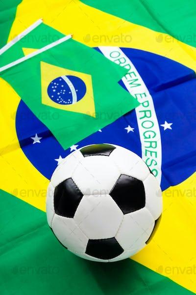 Brazilian flag and football
