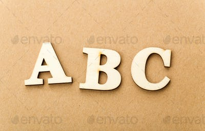 Wooden text for ABC