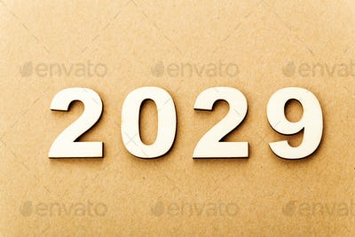 Wooden text for year 2029