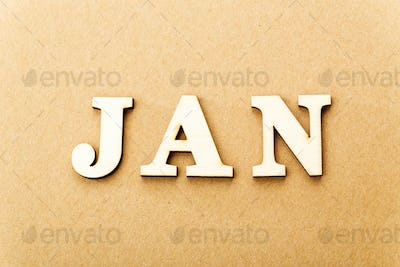 Wooden text for January