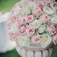 Pink and white roses arrangement at wedding reception in botanical garden
