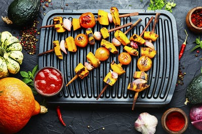 Pumpkin vegetable kebab.