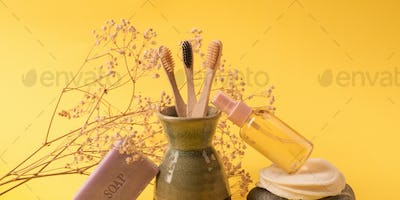 Zero waste beauty care products on yellow