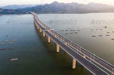 Hong Kong- 16 October 2018: Drone fly over Shenzhen Bay Bridge
