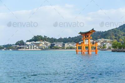 Itsukushima shrine with floating shinto gate in Japan