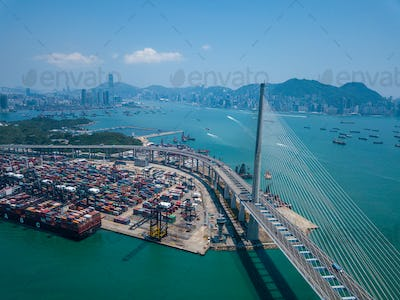 Terminal container port in Hong Kong