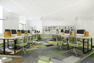 3d rendering green business meeting and working room on office building with bookshelf