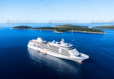 Croatia. Aerial view at the cruise ship at the day time. Adventure and travel.