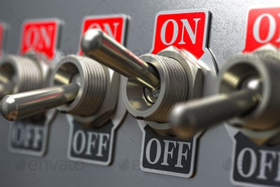 Row of retro toggle switch ON OFF on metal background.