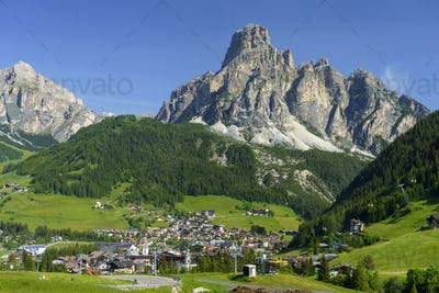 Mountain landscape along the road to Campolongo pass, Dolomites