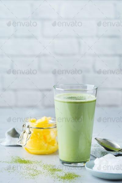 Ketogenic bulletproof matcha latte tea, coconut oil and ghee butter