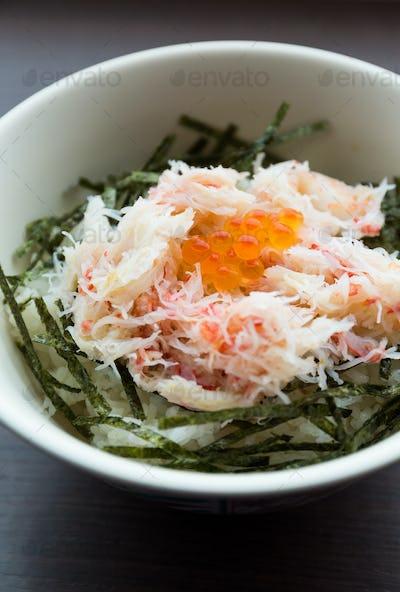 Crab meat rice bowl
