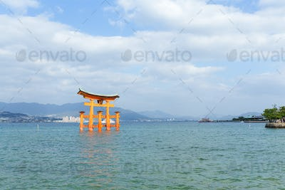 Itsukushima shrine with floating shinto gate