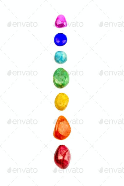 Chakra stones, crystals in a row