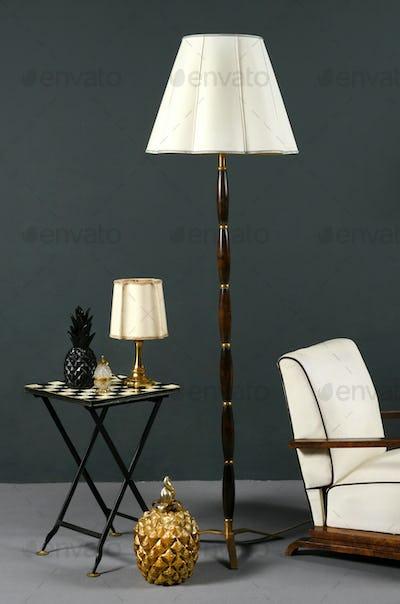 Interior decor with stylish vintage furniture