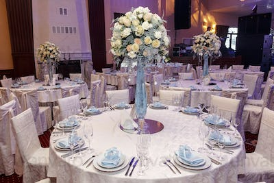 luxury decorated tables at rich wedding reception