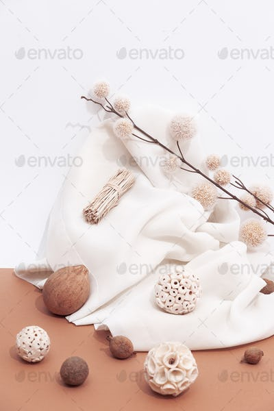 Stylish autumn still life composition. Textiles and decor. Minimalist beige trendy colours