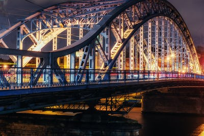 Bridge Vistula river promenade , Krakow,  Poland