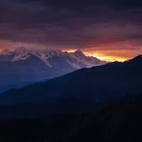 The view from the mountains to Mount Ushba Mheyer, Georgia
