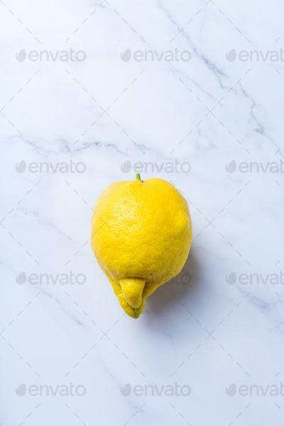 Trendy ugly fruit, yellow lemon on a table