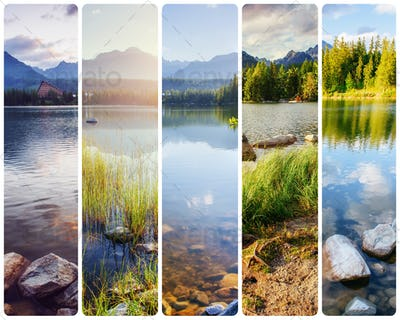 Creative collage majestic mountains and lakes in the High Tatras