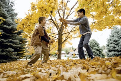 Two boys playing and throwing autumn leaves in the air and at each other.